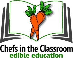chefs in classroom logo with carrots in green